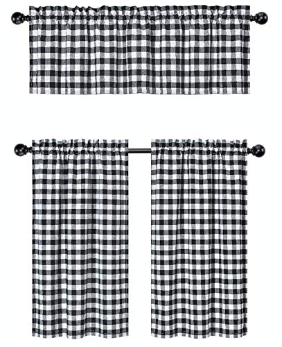 GoodGram 3 Pc. Plaid Country Chic Cotton Blend Kitchen Curtain Tier & Valance Set - Assorted Colors (Black)