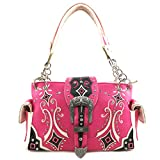 Justin West Western Floral Embroidery Studs Bling Rhinestone Buckle Shoulder Concealed Carry Handbag Purse (Hot Pink Handbag)