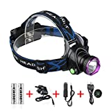GRDE® 2200 Lumens Waterproof Head Torch, Powerful LED Headlight, Rechargeable Headlamp for Cycling Running Hiking Camping Hunting Fishing Bild 2