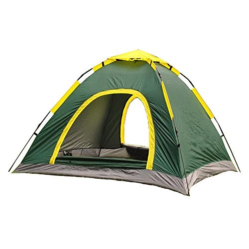URUOI New Year Gift Instant Pop up 3 Person Waterproof UV-proof Family Camping Tent with Carry Bag easy to Setup perfect for Backpacking Hiking Camping Green