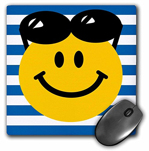3dRose LLC 8 x 8 x 0.25 Inches Summery Smiley Face with Black Sunglasses Perched on Head Summer Smile with Shades Blue Stripes Pattern Mouse Pad - Smiley Glasses