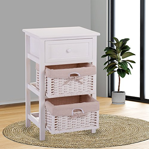 JAXPETY White Night Stand 3 Tiers 1 Drawer Bedside End Table Organizer Wood W/2 Baskets (Wicker Bathroom Furniture)
