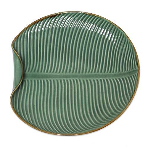 - NOVICA 327813 Banana Vibes Ceramic Serving Plate Green