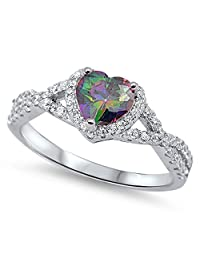 Rainbow Simulated Topaz Heart Halo Promise Ring New 925 Sterling Silver Band Sizes 4-12