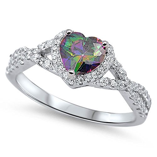 Rainbow Simulated Topaz Heart Halo Promise Ring New 925 Sterling Silver Band Size 7