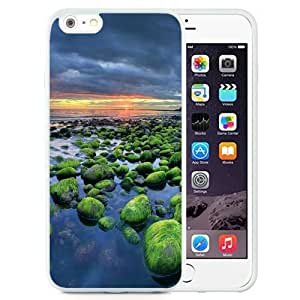 Unique and Attractive TPU Cell Phone Case Design with Iceland Green Rocks Coast Sunset HTC One M7 4.7 inch Wallpaper in White