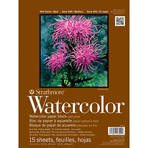 Strathmore 400 Series Watercolor Block, Cold Press, 9x12 Bound (4 sides), 15 Sheets/Block
