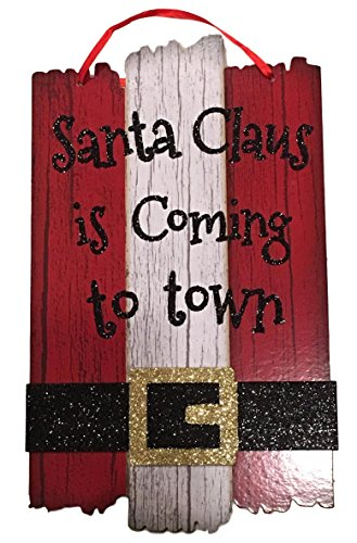 Christmas Decor Glitter Sign - Santa Claus and Elf Merry Christmas Themes (Red Santa Claus Is Coming To Town)