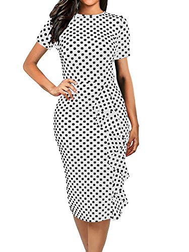 (oxiuly Women's Casual Polka Dot Short Sleeve Round Neck Work Business Pencil Dress OX055 (L, White))