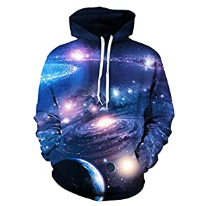 Uideazone Unisex 3D Printed Hooded Sweatshirt Casual Pullover Hoodie with Big Pockets