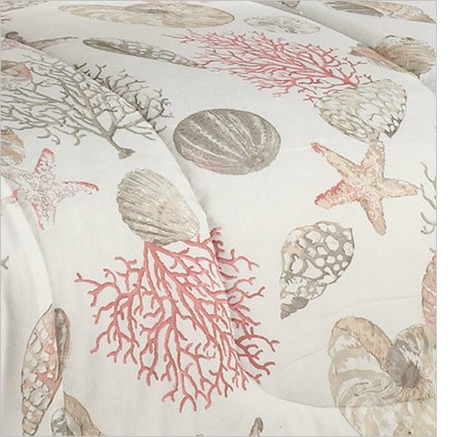 amazoncom coral seashells starfish beach themed nautical queen comforter set bb 8 piece bed in a bag home u0026 kitchen