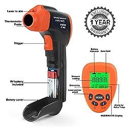 BTMETER BT-980 Series Digital Laser Infrared Thermometer Non-Contact Temperature Gun for Cooking Kitchen Meat Food BBQ Frying Automotive HVAC(BT-980D, BT-980G)