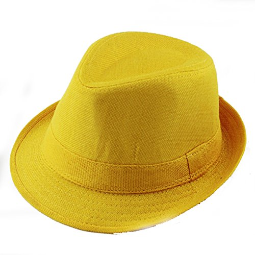 Queenbox Baby Linen Fedora Hat Infant Toddler Jazz Cap Kids Straw Sun Cowboy Hat,Yellow ()