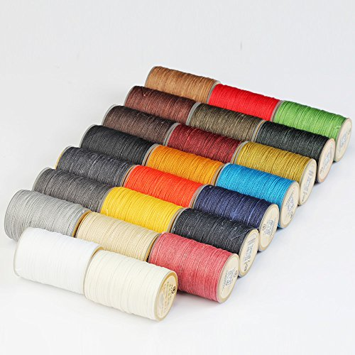 WUTA LEATHER 0.65mm Waxed Thread 23 Colors Hand Sewing Cord Leather Craft Tools by Wuta Leather (Image #2)