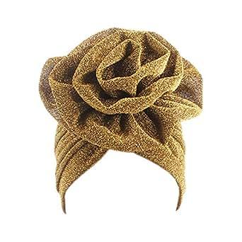 Surkat Shiny Flower Turban Shimmer Chemo Cap Hairwrap Headwear Beanie Hair Scarf - Gold - One Size