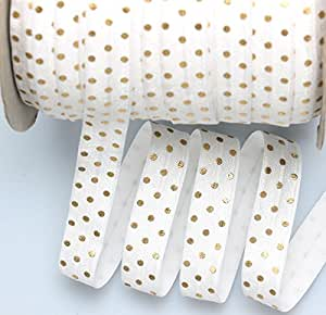"""Top Hunter 5/8"""" X 10 Yards White Fold Over Elastic Strips Gold Dots Printed Stretch Ribbon FOE For Hair Tie Hair Band Headband Accessories"""