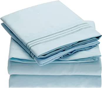 Mellanni Bed Sheet Set - Brushed Microfiber 1800 Bedding - Wrinkle, Fade, Stain Resistant - 4 Piece (Queen, Baby Blue)
