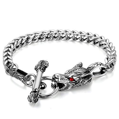 Flongo Bracelet Acier Inoxydable Lien Poignet Loup Tête Rétro Gothique Chaîne de main Fantaisie Bijoux Cadeau Couleur Argent Noir Rouge pour Homme
