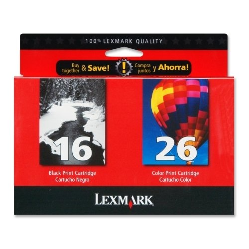 10N0202 (16, 26) Ink, 625 Page-Yield, 2/Pack, Black; (275 Page Yield Tri Color)