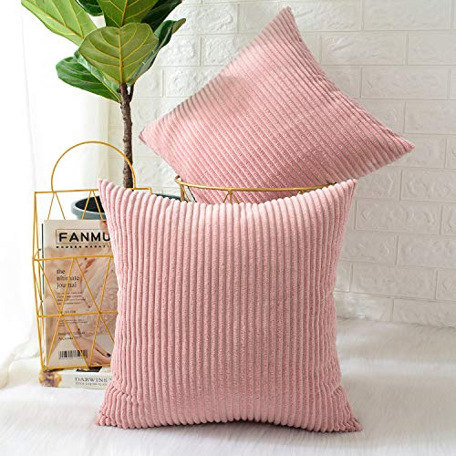 MERNETTE Pack of 2, Corduroy Soft Decorative Square Throw Pillow Cover Cushion Covers Pillowcase, Home Decor Decorations for Sofa Couch Bed Chair 20x20 Inch/50x50 cm (Striped Peach Pink) ()