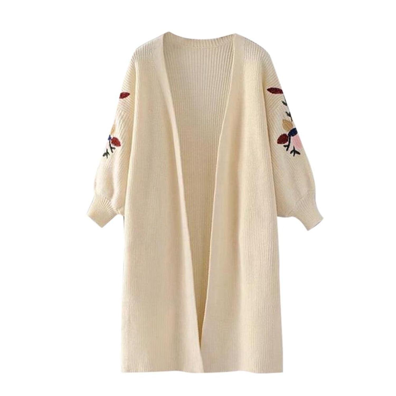 Challyhope Women Lantern Sleeve Oversized Loose Knitted Sweater Cardigan Outwear Coat