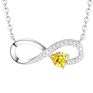 I Love You Infinity Necklace Gifts For Women Heart Sterling Silver Jewelry LC Yellow Citrine