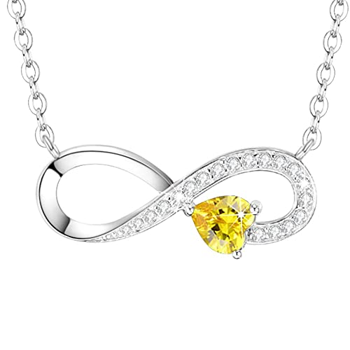 Love You Forever Necklace Jewelry Birthday Gifts for Women Sterling Silver Simulated Diamond Citrine Infinity Necklace 20 Chain
