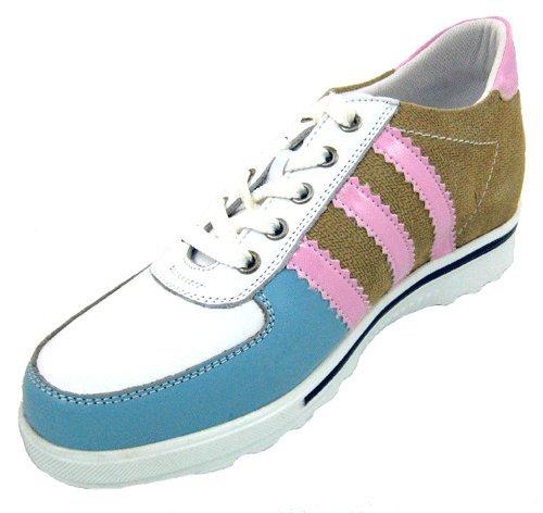 Calden–K9081–6,1cm Grande Taille–Hauteur Augmenter Chaussures en cuir (Blanc)–Femmes