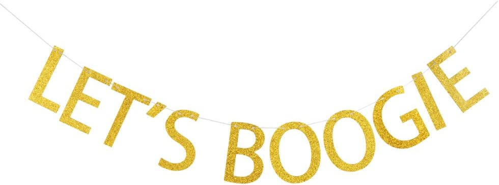GRACE.Z Let's Boogie Banner, Gold Gliter Paper Garland for 80's Party/Disco Party Decorations