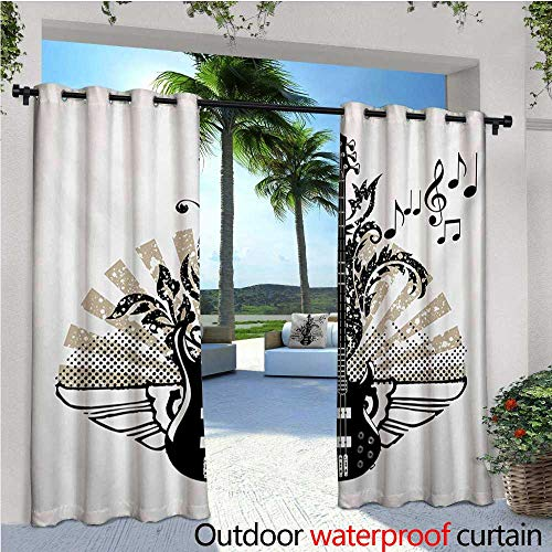 homehot Guitar Outdoor Blackout Curtains Geometrical Elements Stripes Swirls Dots Lines and Musical Notes Rock and Roll Outdoor Privacy Porch Curtains W120 x L96 Tan Black White