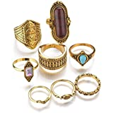 Women 8Pcs/Set Above The Knuckle Ring Boho Midi Finger Rings Vintage Jewelry