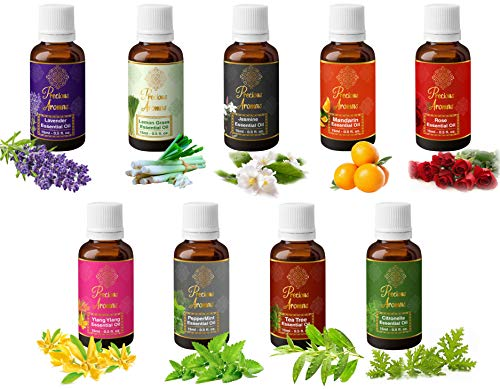 Precious Aromas Pure Lavender, Lemongrass, Jasmine, Mandarion, Rose, Ylang Ylang, Peppermint, Tea Tree and Citronella Essential Oils, 100% Natural and Therapeutic Grade, 15 ml (Pack of 9) Perfumes
