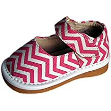Squeaky Shoes Toddler Girls Canvas Pink Chevron Print Shoes