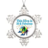 Xixitly Xmas Trees Decorated 50TH BLUE SHOE QUEEN 50 And Looking Good Photo Frame Snowflake Ornament
