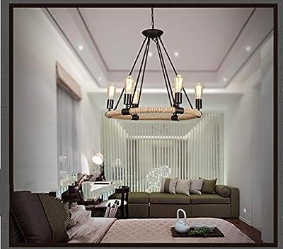 RUXUE Chandeliers Industrial Pendant Light Hemp Rope 6 Lights Fixtures Black Ceiling Light