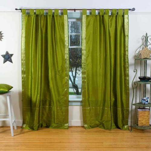 Lined-Olive Green Tab Top Sheer Sari Curtain / Drape - 80W x 120L - Piece