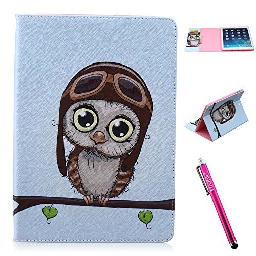 iPad Air Case, Firefish [Bumper] [Kickstand] Anti-Slip Slim PU Leather Wallet with TPU Double Protection Flap Cover for Apple iPad Air - Owl Animal (New York Designer Purses)