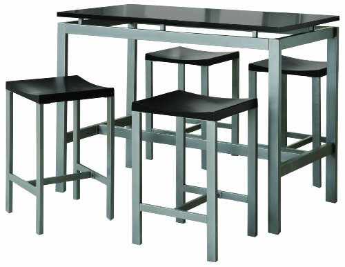 coaster-5-piece-metal-dining-set-with-4-barstools-silver-black