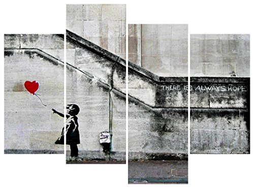 Pyradecor Banksy Grafitti Girl with Red Balloon Large 4 Panels Modern Stretched and Framed Giclee Canvas Prints Artwork Grey Love Pictures Paintings on Canvas Wall Art for Office Home Decorations L (Framed Grey Art)