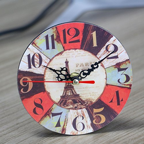 MAISHO 12CM Round Vintage Desk Clock Colourful French Country Tuscan Style Paris Creative Wooden Desk Clock (Clock Style French Table Wood)