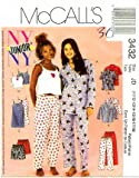 McCall's 3432 Sewing Pattern Juniors Pajama Top Nightgown Camisole Pant Short 11/2 - 17/18