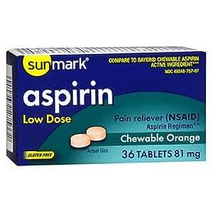 Amazon com: Sunmark Aspirin Adult Low Dose Chewable, 81 mg