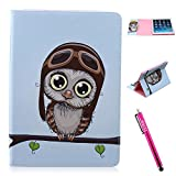 iPad Air Case, Firefish [Bumper] [Kickstand] Anti-Slip Slim PU Leather Wallet with TPU Double Protection Flap Cover for Apple iPad Air - Owl Animal