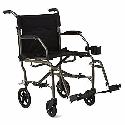 """Medline Ultralight Mobility Transport Wheelchair, 19"""" Wide Seat, Permanent Desk-Length Arms, Swing Away Footrests, Metallic Silver Frame"""