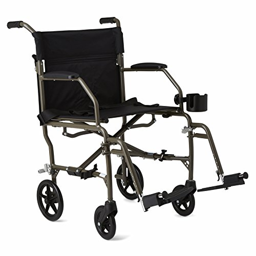 "Medline Ultralight Mobility Transport Wheelchair, 19"" Wide Seat, Permanent Desk-Length Arms, Swing Away Footrests, Metallic Silver Frame"