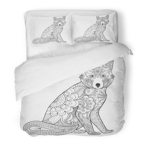 SanChic Duvet Cover Set Fox Black White Doodle Animal Ethnic Patterned African Indian Totem Tribal Zentangle Sketch for Coloring Decorative Bedding Set with 2 Pillow Shams Full/Queen Size for $<!--$89.90-->
