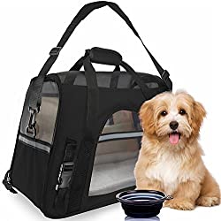 PEROZEK Premium Pet Travel Carrier, Airline Approved, Soft Sided with Fleece Bed Mats, Perfect for Small Dogs, Cats, Birds, Rabbits, and Chicken. (Black)