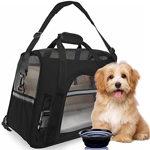 ToysOpoly Premium Pet Travel Carrier, Airline Approved, Soft Sided with Fleece Bed Mats, Perfect for Small Dogs, Cats, Birds, Rabbits, and Chicken (OldBlack) For Sale