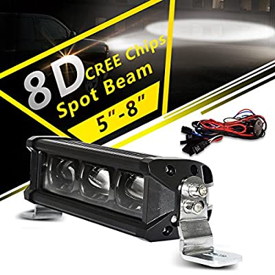 8D Light Bar 24 Inch 120W + Wiring Harness, 12000LM Race Light Spot LONG LIFETIME Work Driving Lamp IP68 WATERPROOF with Adjustable Bracket for SUV Boat Jeep ATV, 3 Year Warranty