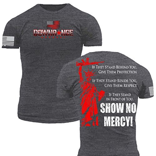 Downrange Apparel Fighting Liberty Show No Mercy Premium Athletic Fit Heathered Gray T Shirt (XL) - Wtc 911 Flag